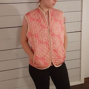 J. McLaughlin pink  quilted puffer silk vest0716